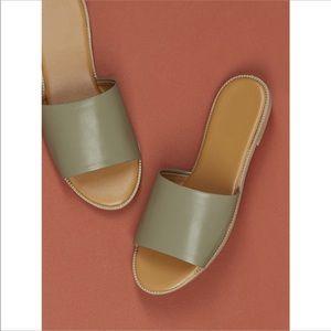 Shoes - Olive green one band slide slip on sandals
